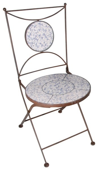 Esschert Design Chair aged ceramic blue/white (AC90 - 8714982024955) | Trends & Vision