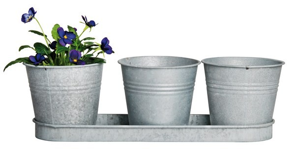 Esschert Design 3 pots on a saucer old zinc (OZ22 - 8714982059377) | Trends & Vision