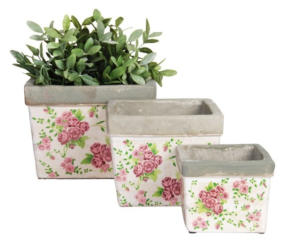 Esschert Design Flower pot rose print (RD01 - 8714982059223) | Trends & Vision