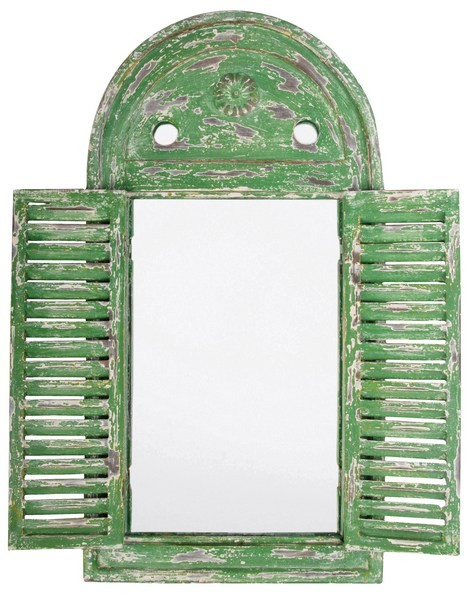 Esschert Design Mirror Louvre distressed green (WD12 - 8714982040337) | Trends & Vision