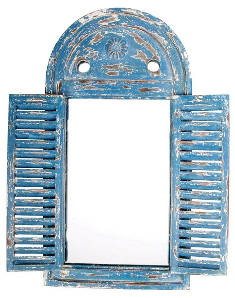Esschert Design Mirror Louvre distressed blue (WD13 - 8714982040344) | Trends & Vision