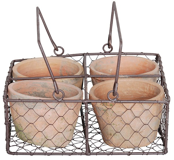 Esschert Design 4 Pots in wire basket (AT12 - 8714982066207) | Trends & Vision