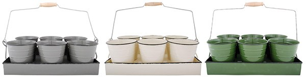 Esschert Design Tray with 6 flower pots ass. (EL007 - 8714982067006) | Trends & Vision