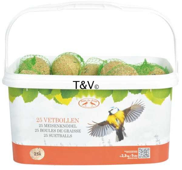 Esschert Design 25 Fat balls (2.3 kg) in resealable bucket (FB801 - 8714982093180) | Trends & Vision