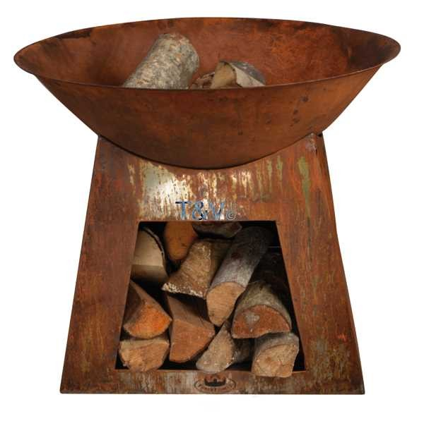 Esschert Design Firebowl + wood storage Small (FF169 - 8714982088810) | Trends & Vision