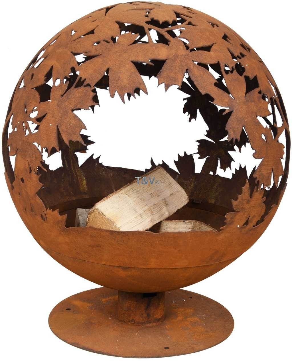 Esschert Design Fire ball laser cut leaves rust (FF293 - 8714982141089) | Trends & Vision