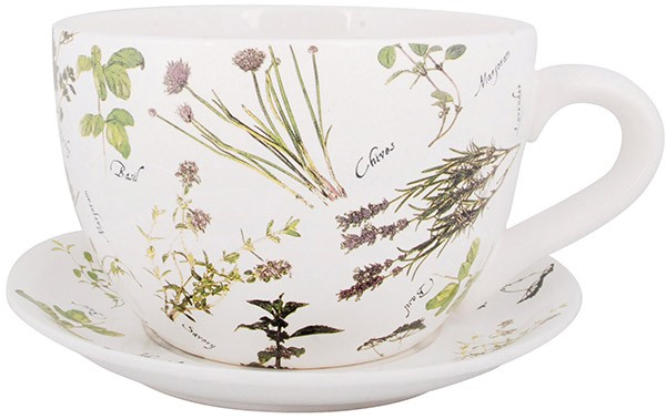 Esschert Design Teacup with saucer - Herbs print (HD51 - 8714982066573) | Trends & Vision