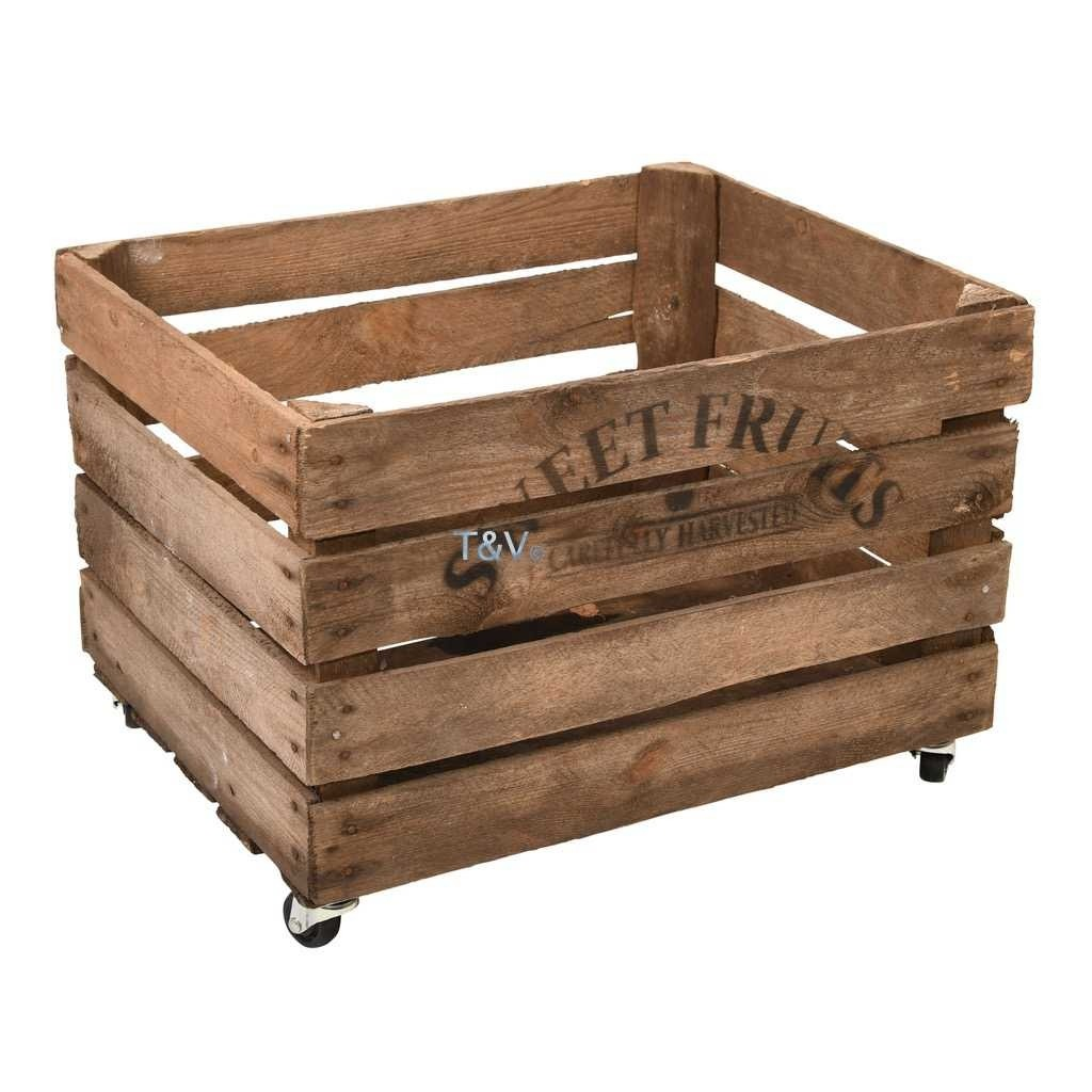Esschert Design Apple crate wood with wheels (NG81 - 8714982160318) | Trends & Vision