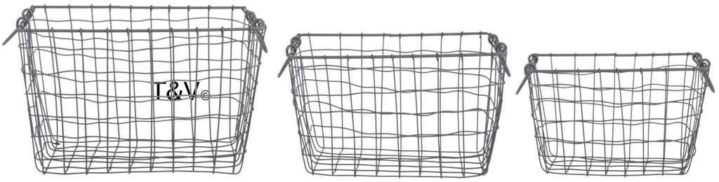 Esschert Design Wire basket rectangular set/3 L (WB34 - 8714982143984) | Trends & Vision
