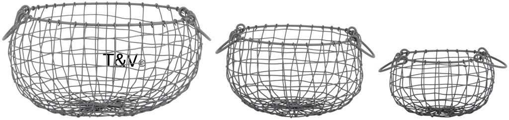 Esschert Design Wire basket pear shaped set/3 S (WB35 - 8714982143991) | Trends & Vision