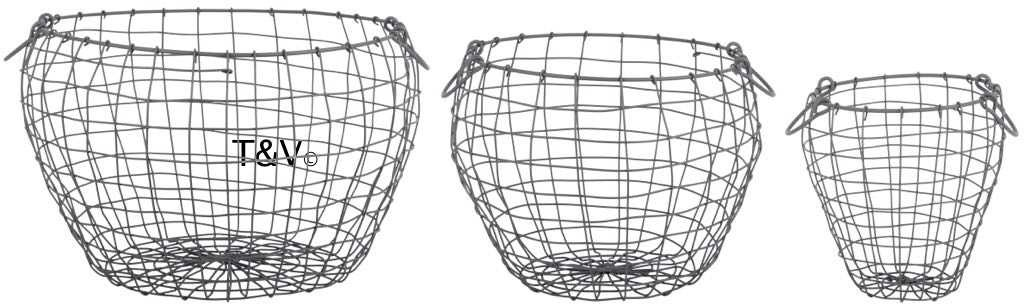 Esschert Design Wire basket pear shaped set/3 L (WB36 - 8714982144004) | Trends & Vision