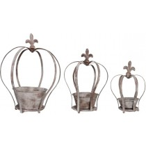 Esschert Design Aged Metal Crown planter set of 3 | Trends & Vision