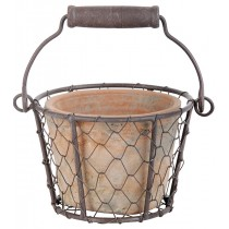 Esschert Design Aged terracotta pot in wire basket/handle | Trends & Vision