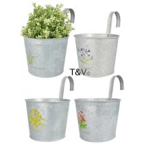 Esschert Design Botanicae flowerpot in old zinc with hook | Trends & Vision