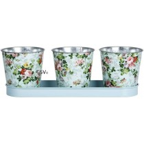 Esschert Design Rose print 3 pots on tray | Trends & Vision