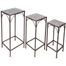 Set of 3 plant tables aged c. b/w