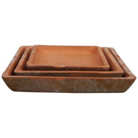 Set 3 saucers square aged terra cotta