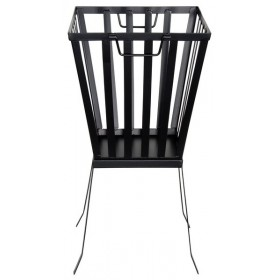 Black metal square fire basket