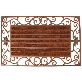 Castiron doormat with coco roll brush