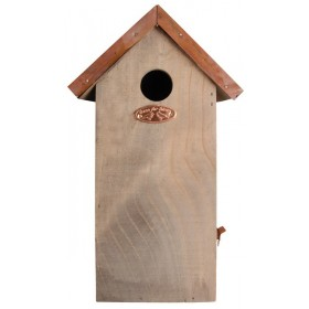 Antique wash bird house great tit copper roof