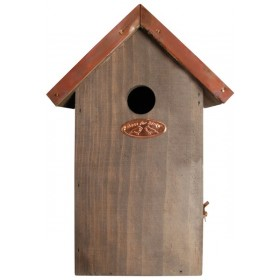 Antique wash bird house blue tit copper roof