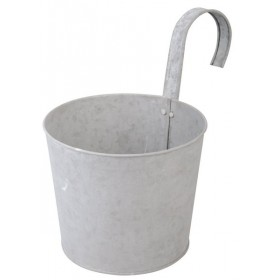 Flower pot with hook old zinc