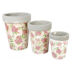 Set of 3 large round flowerpots rose print