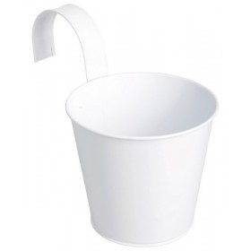 Balcony flower pot with hook round white