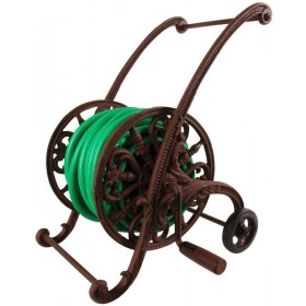 Cast iron garden hose cart