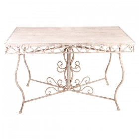 Aged Metal table rectangular wooden top