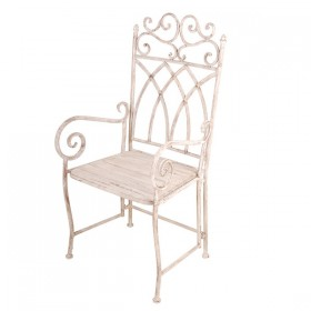 Aged Metal chair with arms and wooden seat.