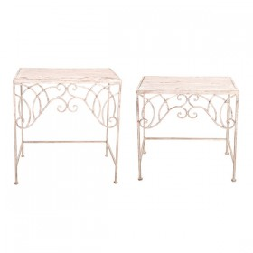 Aged Metal side tables set of two
