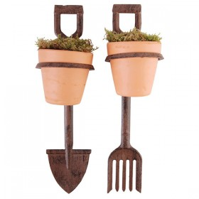 Flower pot holder fork/spade