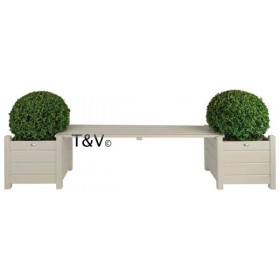 Planters with bridge bench white