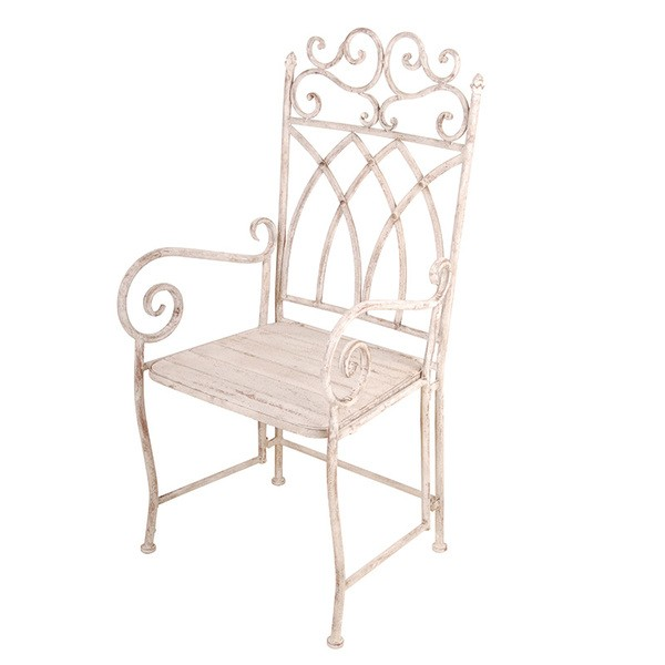 Esschert Design Aged Metal chair with arms and wooden seat. (AM56 - 8714982076343)   Trends & Vision