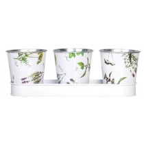 Esschert Design 3 pots on a saucer herb print | Trends & Vision