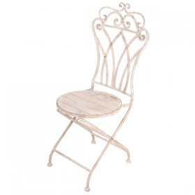 Aged Metal folding chair with wood