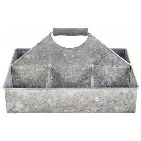 Tray with 6 compartments large - Old zinc